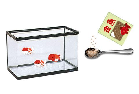 金魚とエサ